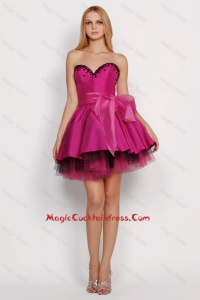 2016 Modest A Line Sweetheart Cocktail Dresses with Sashes in Fuchsia