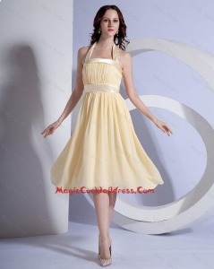 Brand New Halter Top Short Cocktail Dresses in Yellow