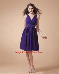 Comfortable V Neck Beading Short Cocktail Dress in Eggplant Purple