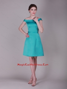 Elegant Off the Shoulder Belt Short Cocktail Dresses in Turquoise