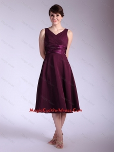 Perfect V Neck Tea Length Cocktail Dresses with Ruching