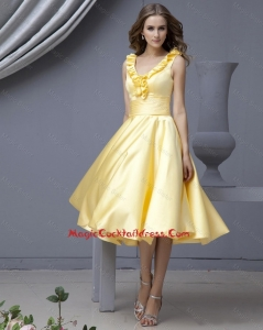 Perfect V Neck Yellow Short Prom Dresses with Ruffles for 2015 Autumn