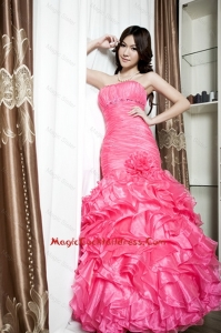 Affordable Beading and Ruffles Mermaid Cocktail Dresses in Coral Red