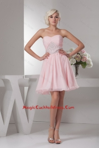 Classical Sweetheart Baby Pink Short Cocktail Dress with Beading