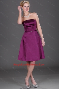 Popular Strapless Eggplant Purple Cocktail Dresses with Belt