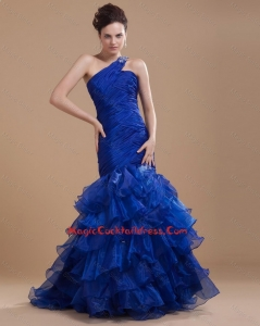 Pretty One Shoulder Ruffled Layers Cocktail Gowns with Mermaid