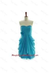 Exclusive Hand Made Flowers Short Cocktail Dresses in Aqua Blue