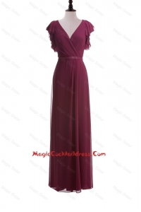 2016 Autumn Empire V Neck Cocktail Dresses with Belt in Burgundy
