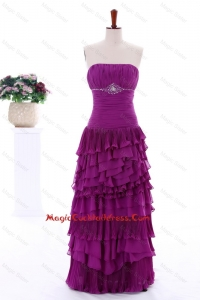2016 Winter Popular Empire Strapless Beaded Cocktail Dresses with Ruffled Layers