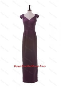 Cheap V Neck Belt Burgundy Long Cocktail Dresses for Winter