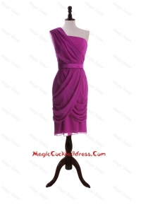 Custom Made Ruching and Belt Short Cocktail Dresses in Fuchsia