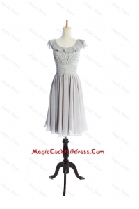 Custom Made Scoop Short Ruffles and Pleats Cocktail Dress in Grey