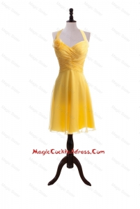 Exquisite 2016 Hand Made Flower and Ruching Short Yellow Cocktail Dresses