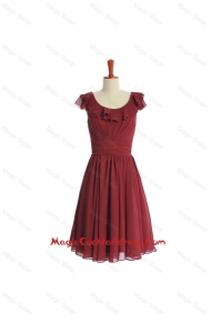 Inexpensive Wine Red Short Cocktail Dress with Ruffled Layers and Belt