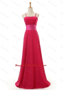 Most Popular Spaghetti Straps Long Red Cocktail Dress for 2016