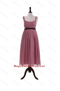 New Arrival Straps Short Cocktail Dresses with Belt and Bowknot