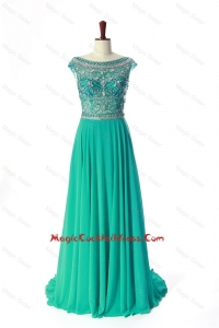 New Style Bateau Beading Brush Train Cocktail Dress in Turquoise