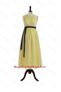 Pretty High Neck Tea Length Cocktail Dresses with Sashes