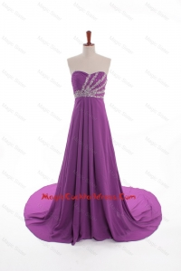 Fashionable Beaded Court Train Cocktail Dresses in Eggplant Purple