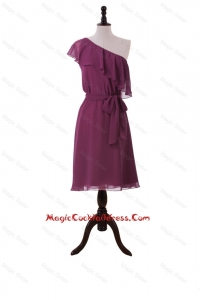 Perfect Ruffles and Sashes One Shoulder Short Cocktail Dresses in Burgundy