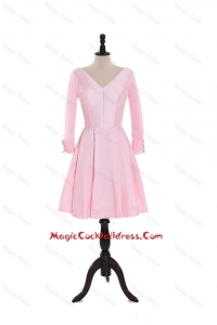 Custom Made A Line V Neck 3/4 Length Sleeve Cocktail Dresses in Baby Pink