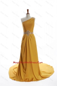 Exquisite One Shoulder Beading Gold Cocktail Dresses with Court Train
