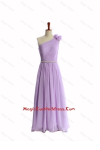Perfect Hand Made Flower and Belt Lilac Cocktail Dresses with Brush Train