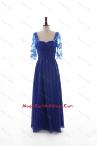2016 Fall Empire Sweetheart Ruching Cocktail Dresses with Half Sleeves in Blue