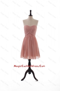 2016 Summer Empire Sweetheart Ruching Cocktail Dresses in Peach