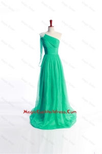 Affordable Appliques Green Long Cocktail Dress with Sweep Train for 2016