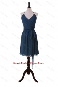 Brand New Halter Top Sashes Short Cocktail Dresses in Navy Blue