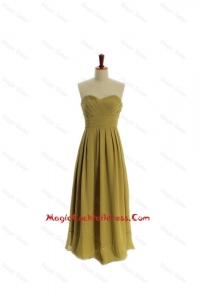 Cheap A Line Olive Green Olive Green Long Cocktail Dresses