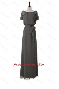 Classic Empire Grey Long Cocktail Dresses with Sashes for 2016