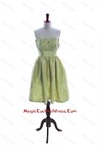 Exclusive Yellow Green Short Cocktail Dress with Ruching and Belt