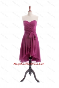 Gorgeous 2016 A Line High Low Burgundy Cocktail Dresses with Sashes