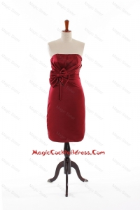 Modest Bowknot Short Cocktail Dresses in Wine Red