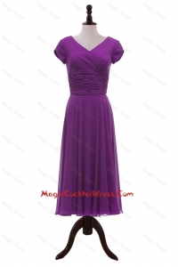 Most Popular V Neck Pleats Cocktail Dresses in Eggplant Purple