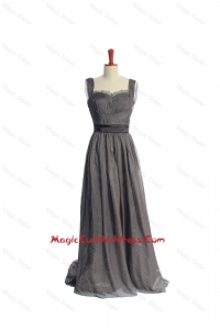 New Style Belt and Lace Grey Long Cocktail Dresses in Organza