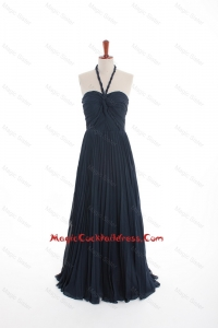 New Style Navy Blue Long Cocktail Dresses with Pleats for 2016