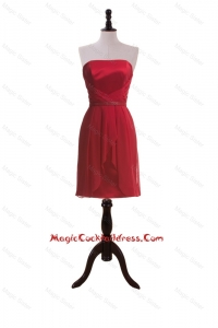 New Style Short Wine Red Cocktail Dresses with Ruching