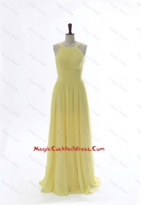 Simple 2016 Scoop Chiffon Yellow Cocktail Dresses with Sweep Brain