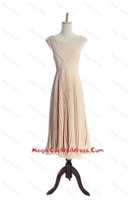 The Super Hot V Neck Pleats Cocktail Dresses in Champagne for 2016