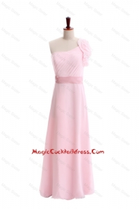 Wonderful Ruffles and Belt One Shoulder Cocktail Dress in Baby Pink
