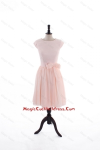 2016 Spring A Line Scoop Cocktail Dresses with Bowknot in Baby Pink