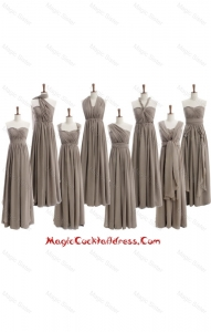 Cheap 2016 Empire Grey Long Cocktail Dresses with Ruching