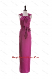 Cheap Straps Long Cocktail Dresses with Beading and Bowknot