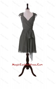 Classical V Neck Grey Short Cocktail Dresses with Sashes