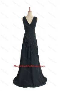 Custom Made 2016 Ruching Black Cocktail Dresses with Sweep Train
