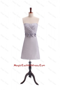 Customize Beading and Hand Made Flowers Short Cocktail Dress in Grey