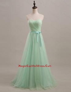 Exquisite 2016 Summer Apple Green Cocktail Dresses with Sweep Train